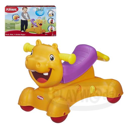【Playwoods】[兒樂寶PlaySkool]河馬三合一學步車遊戲組 (免運/聲光/9個月以上適用/三合一玩法: 學步,搖擺,騎乘/孩之寶Hasbro)