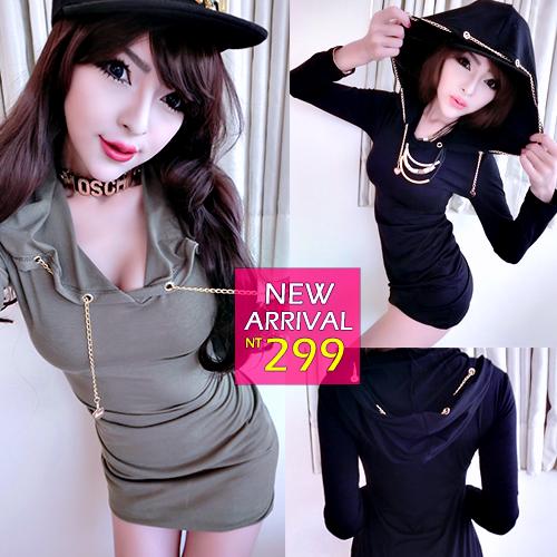 ☆克妹☆現貨+預購【ZT32155】oversize酷女孩愛心金鍊帽沿包臀連帽T恤洋裝
