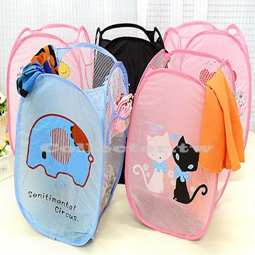 【G16040801】可愛卡通三面網通風可折疊髒衣籃 髒衣收納籃 玩具收納箱