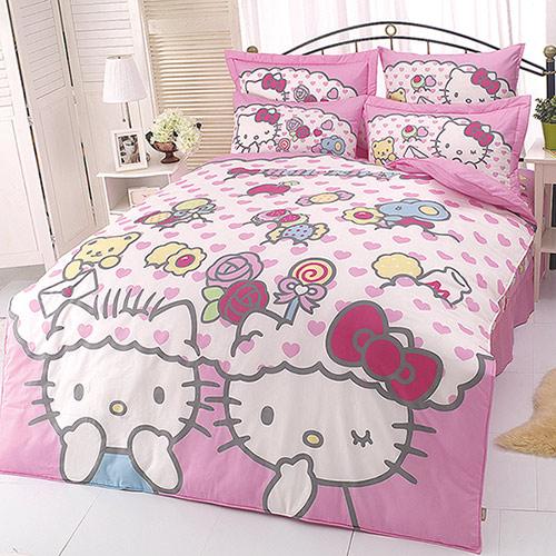【享夢城堡】HELLO KITTY 我的最愛系列-雙人純棉四件式床包薄被套組