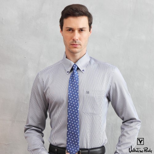 Valentino Rudy范倫鐵諾.路迪長袖襯衫-藍色-釘釦領