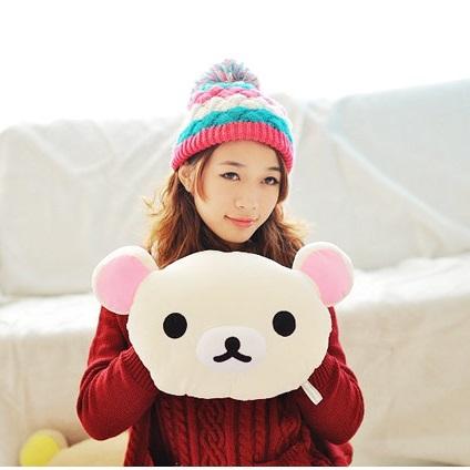 美麗大街【103010602A】拉拉熊輕鬆熊大頭造型12吋插手抱枕
