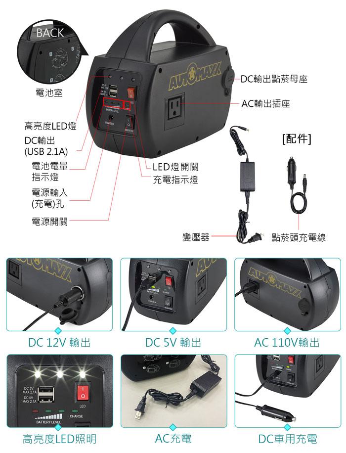 AUTOMAXX★UP-5HA DC/AC專業級手提式行動電源 配件、明細圖