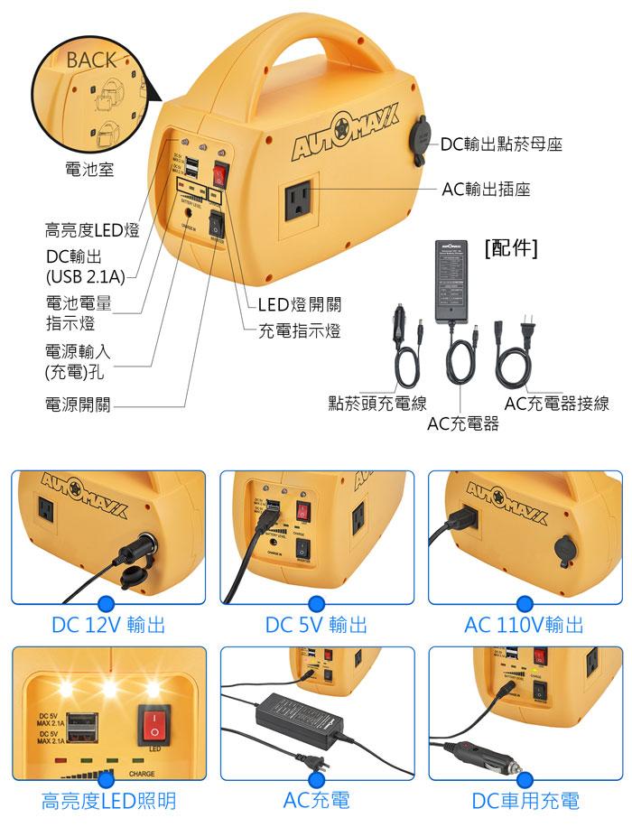 AUTOMAXX★UP-5HX DC/AC專業級手提式行動電源旗艦版 配件、明細圖