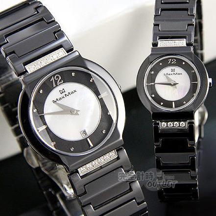 【完全計時】手錶館│Max Max 時尚品味精密陶瓷對錶 黑 MAS5021新品情人節