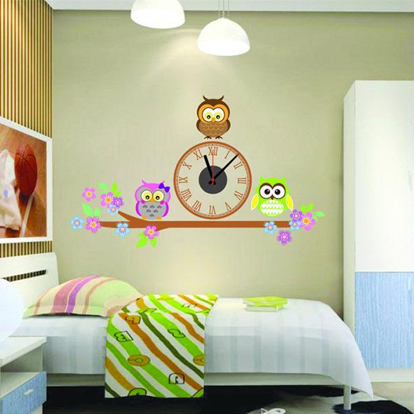 BO雜貨【YV0004】時鐘壁貼 創意無痕壁貼 三隻貓頭鷹 教室裝潢佈置 牆貼壁紙貼紙