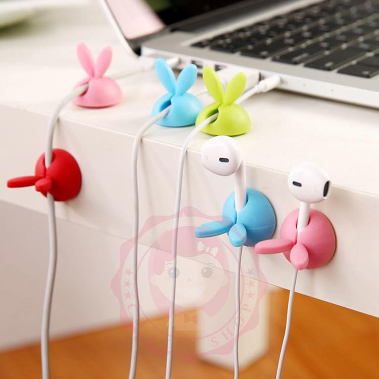 可愛卡通兔耳朵集線器 桌面整理收納(4入/組)【庫奇小舖】