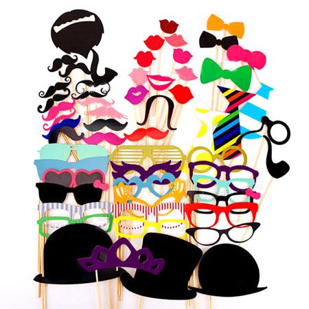 創意派對拍照道具 58件套組 DIY 眼鏡 紅唇 帽子 鬍子 領帶 面具 生日 婚禮 趣味 變裝 party【N201304】