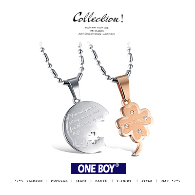 『 One Boy 』【N61226】一對價-水鑽圓牌四葉草鈦鋼設計對鍊