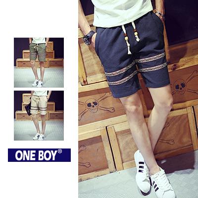 『 One Boy 』【N51208】春夏民族風質感串珠束繩休閒短褲