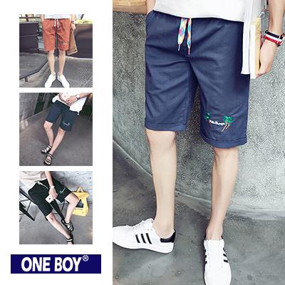 『 One Boy 』【N51209】夏日圖樣設計彩虹束繩休閒短褲
