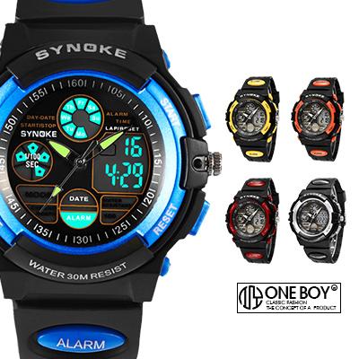 『 One Boy 』【N99266】街頭雙層撞色感設計運動電子腕錶 5色