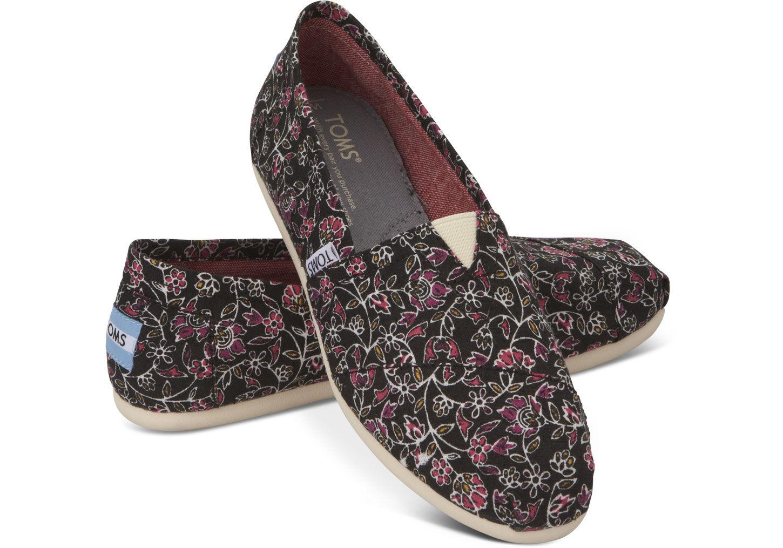 [女款] 國外代購TOMS 帆布鞋/懶人鞋/休閒鞋/至尊鞋 帆布系列 黑色小碎花