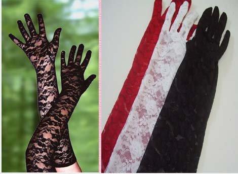 *流行E線*【B027】性感全蕾絲手套彈性長手套~若隱若現~角色扮演新娘禮服配件加分單品~黑紅白