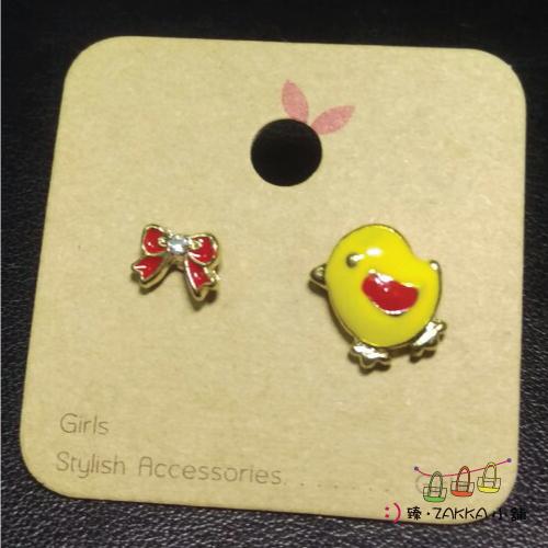 飾品耳環手鍊-可愛小小耳環-黃小雞食米
