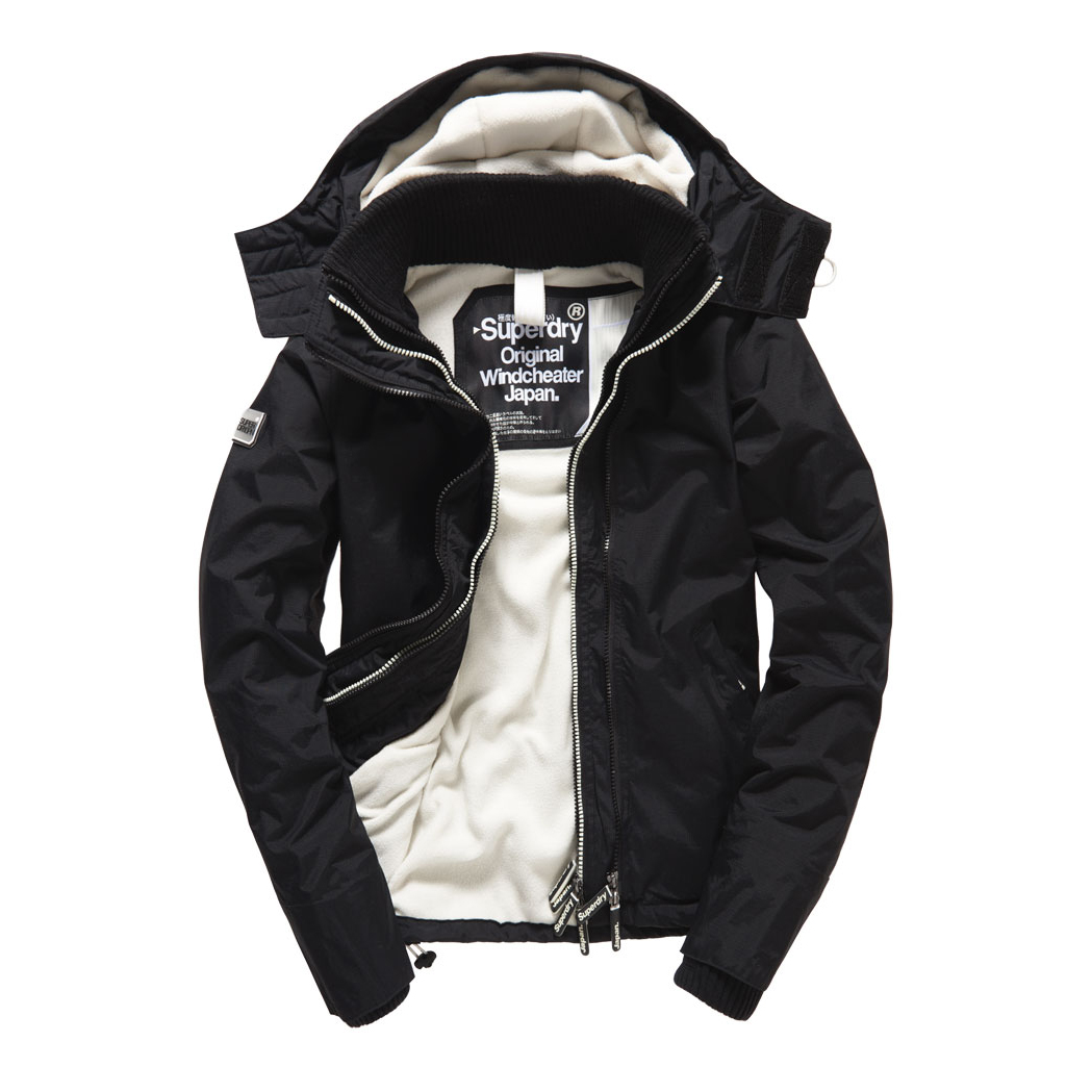 美國百分百【全新真品】Superdry 極度乾燥 風衣 連帽 外套 防風 夾克 刷毛 黑色/白色 女 F855