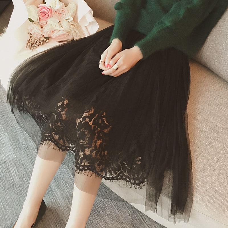 PS Mall 秋裝時尚名媛氣質蕾絲勾花鏤空拼接半身裙長裙【T4148】