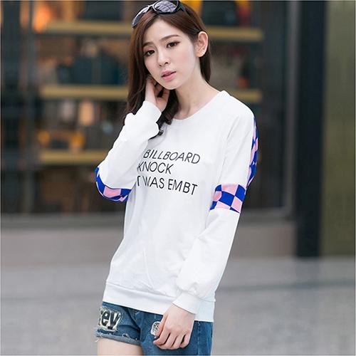 全店65折+免運 寬鬆字母拼接套頭厚棉T恤 (2色,S~XL) - ORead 自由風格