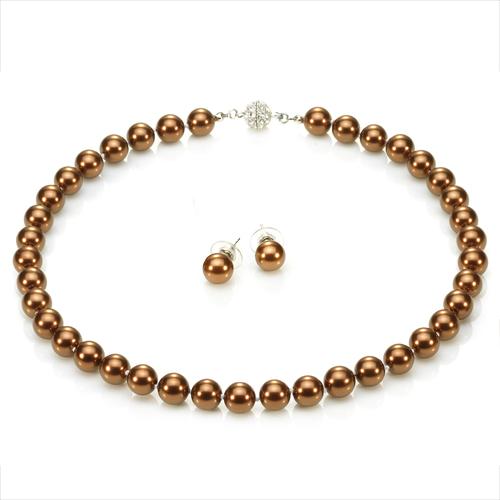 大東山珠寶 10mm南洋貝寶珠項鍊套組 - 巧克力