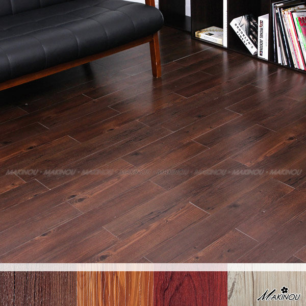 居家組裝地板|日本和風 黑檀木色 自粘式耐磨塑膠地磚-18入-100*600mm 厚1.5mm|日本牧野 腳踏墊 MAKINO