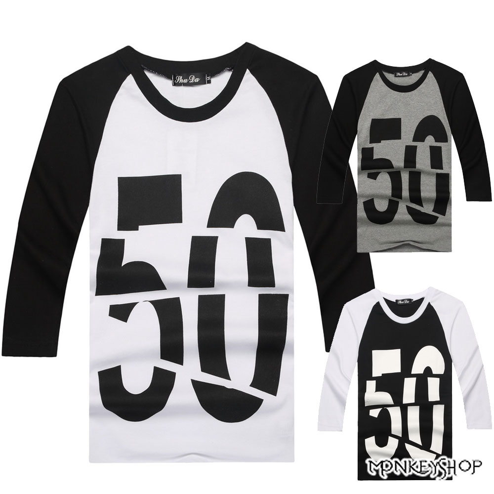 【A05097】美式休閒斜袖數字50分割印花七分袖上衣T恤-3色《Monkey Shop》