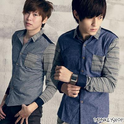 《Monkey Shop》【L8360】韓版民俗風針織拼接長袖雅痞襯衫-兩色