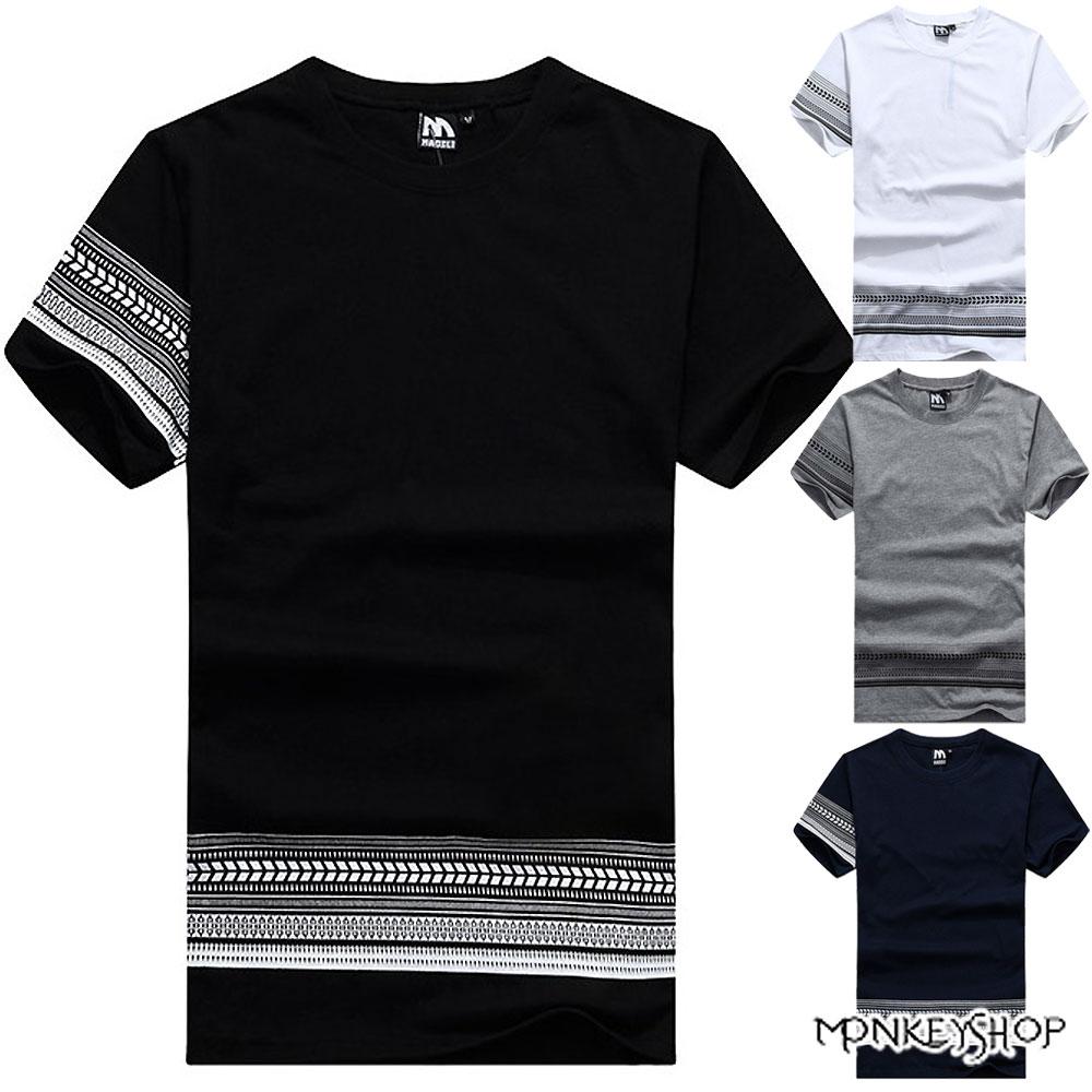 【M30001】MIT情侶單邊圖騰民族風格印花棉質短袖T恤-4色《Monkey Shop》