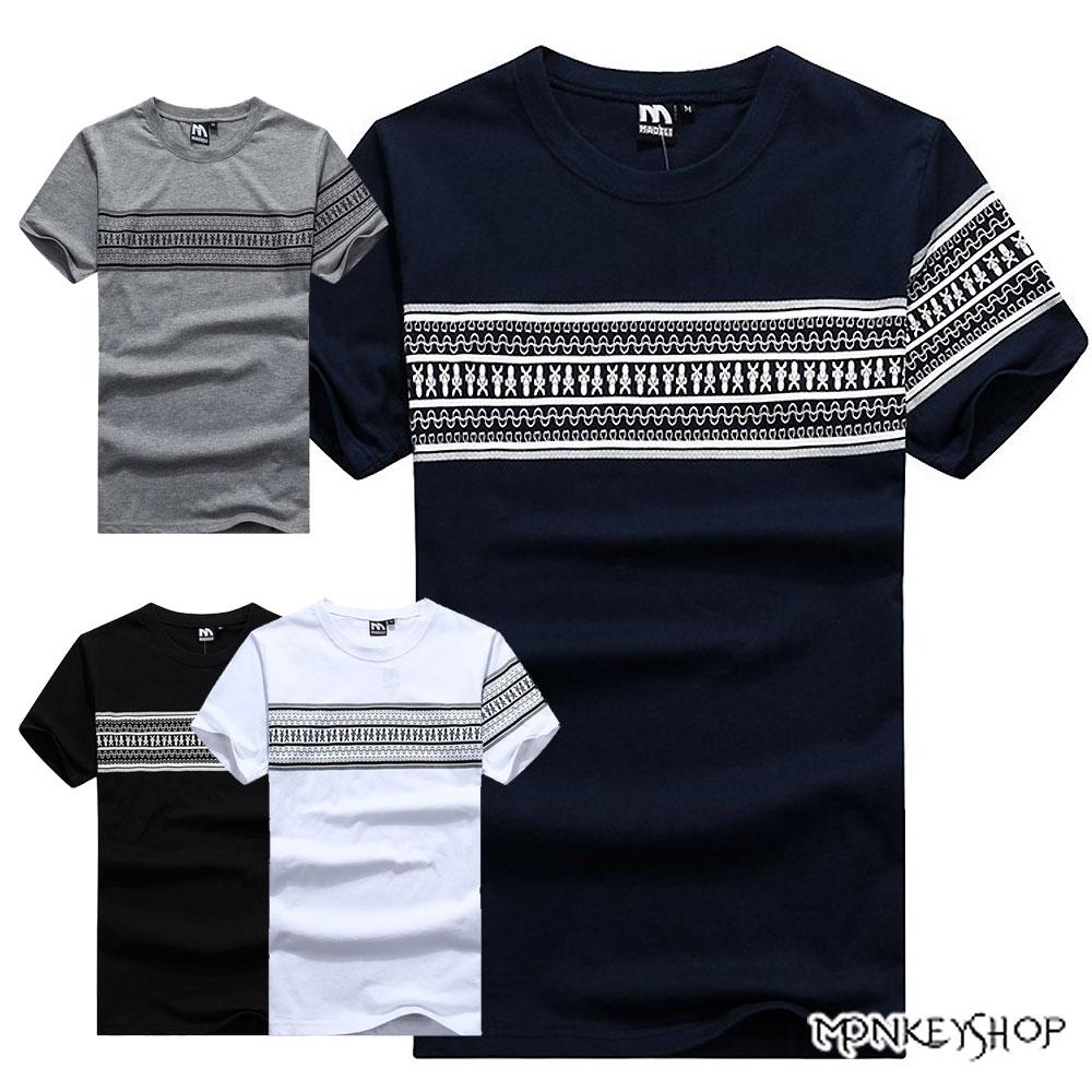 【M30002】MIT情侶潮流圖騰民族風格印花棉質短袖T恤-4色《Monkey Shop》