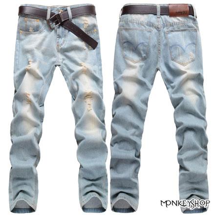 【M706】復古淡色風格小破壞刷白古著單寧牛仔褲《Monkey Shop》
