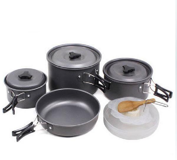 【露營趣】中和 TNR-124 4~5人 鋁合金鍋具 套鍋 露營鍋具 平底鍋 煎盤 湯鍋 炊具 非犀牛K-5 K-4