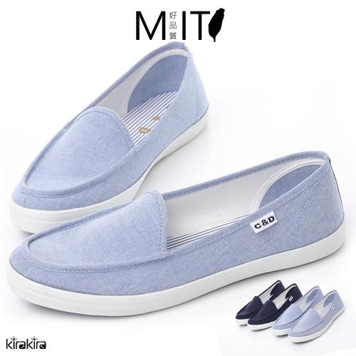 版型偏小 懶人鞋 MIT牛仔丹寧尖頭休閒鞋