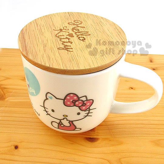 〔小禮堂〕Hello Kitty 骨瓷馬克杯《白.側坐.愛心.460ml》附木蓋