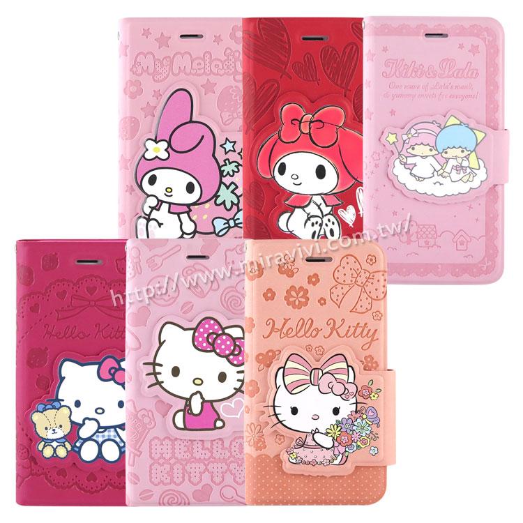 【Sanrio 】iPhone 6/6s 彩繪皮革筆記本式皮套-KITTY/MELODY/KIKILALA