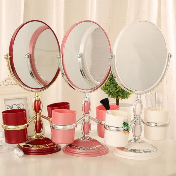 歐式公主 雙面化妝鏡 置物立鏡 梳妝桌鏡 桌面收納 (預購 7-14天)
