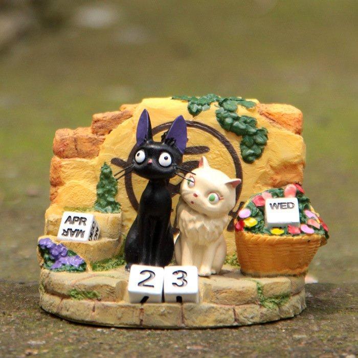 =優生活=宮崎駿吉卜力魔女宅急便黑貓KIKI與白貓莉莉立體公仔擺飾 萬年曆 桌曆 龍貓