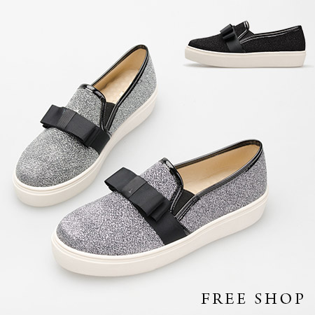 Free Shop【QSH0339】日韓系立體蝴蝶結造型金蔥質感厚底休閒鞋懶人鞋‧二色(FA41) MIT台灣製