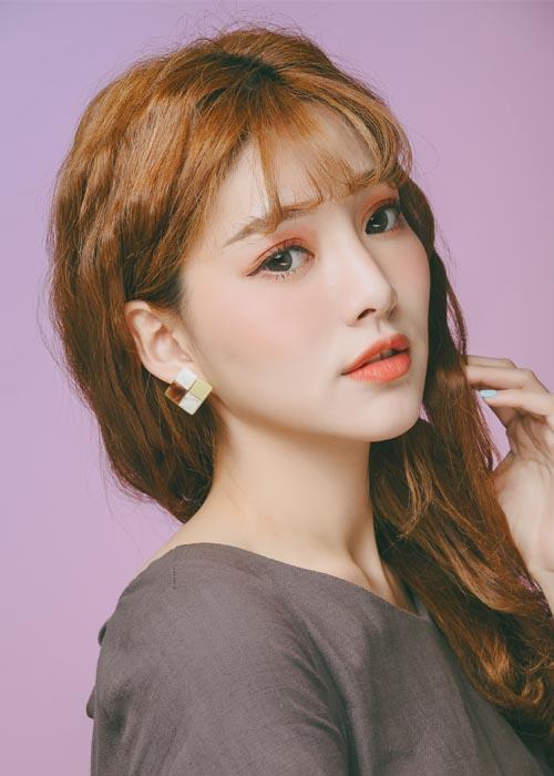 韓國飾品,方塊造型耳環,琥珀耳環,夾式耳環