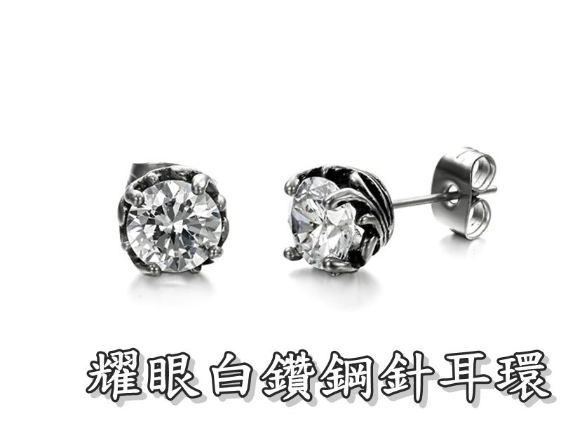 《316小舖》【S26】(優質精鋼耳環-耀眼白鑽鋼針耳環-單邊價 /水鑽耳環/白鑽耳環/女性飾品/優質耳環/甜美耳環)