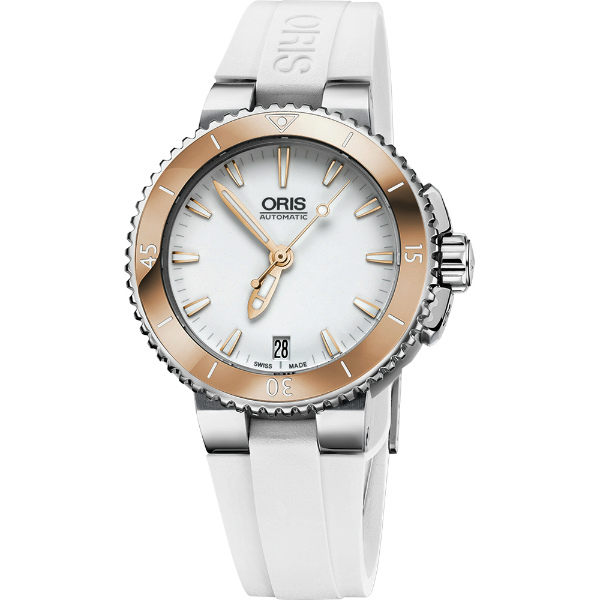 ORIS 豪利時 0173376524356-0741831時間之海專業潛水腕錶/白面玫瑰金框36mm