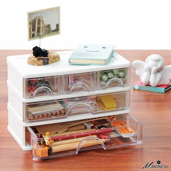 抽屜收納箱『日本MAKINOU3小抽2大抽無印桌面文件收納盒』化妝品置物箱 牧野丁丁