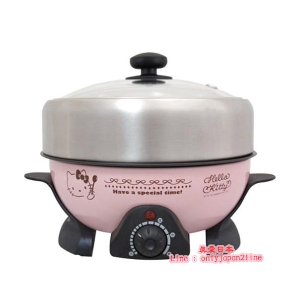 【真愛日本】16092900003 電火鍋-KT湯匙粉  三麗鷗 Hello Kitty 凱蒂貓 電鍋 鐵板鍋 多功能鍋