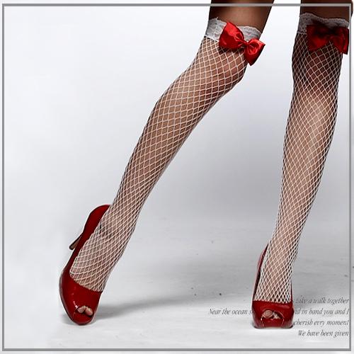 筱雅衣舖【A19】聖誕小禮服專屬紅蝴蝶結白蕾絲膝上網襪