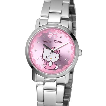 Hello Kitty凱蒂貓 蕾絲粉kitty貓公主腕錶 不鏽鋼手錶 原廠公司貨 柒彩年代【NE1643】LK680LWPI
