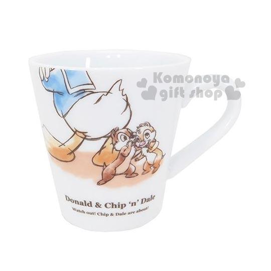 〔小禮堂〕迪士尼 唐老鴨 奇奇蒂蒂 陶瓷馬克杯《白.手繪風.280ml》