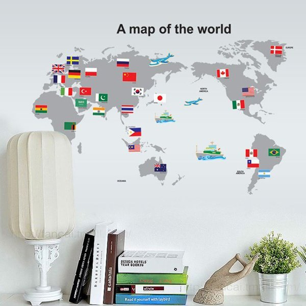 BO雜貨【YV0634】DIY時尚裝飾組合可移動壁貼 牆貼 壁貼 創意壁貼 世界地圖AY7191