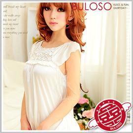 《不囉唆》【A300995】小蓋袖睡襯衣 純愛戀情甜美平領平口柔緞絲質連身性感睡衣