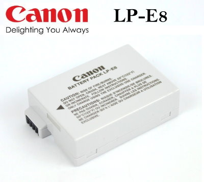 【現貨供應】CANON LP-E8/LPE8 數位相機原廠電池for:EOS 550D/600D/650D/Kiss X4/X5/T2i/T3i