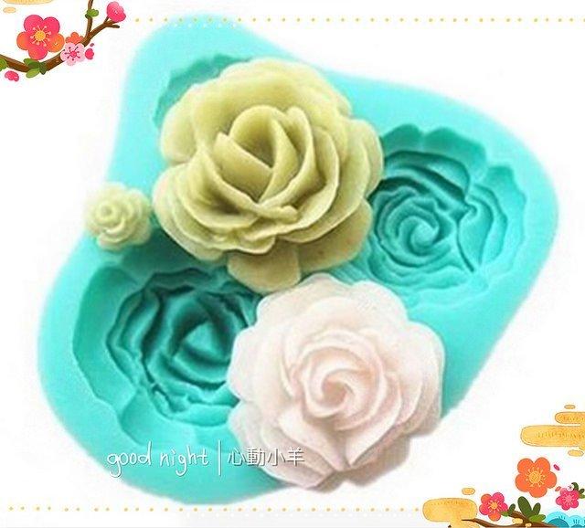心動小羊^^DIY手工皂工具矽膠模具肥皂香皂模型矽膠皂模巧克力摸4連玫瑰翻糖模