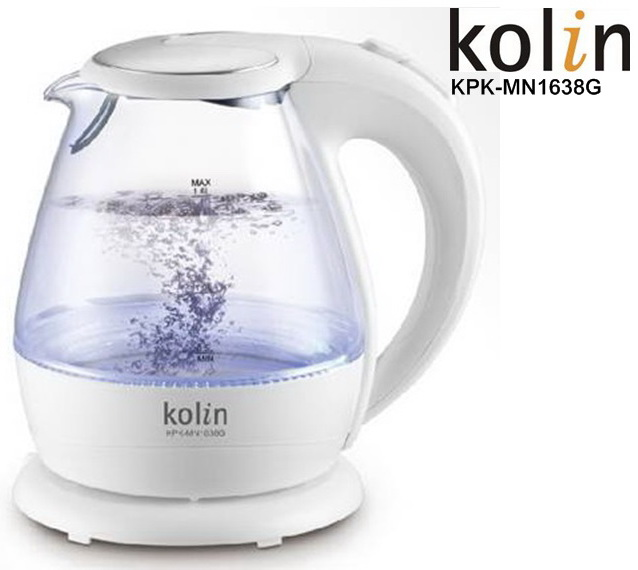 KPK-MN1638G【歌林】(1.6L)LED炫彩玻璃快煮壼 保固免運-隆美家電