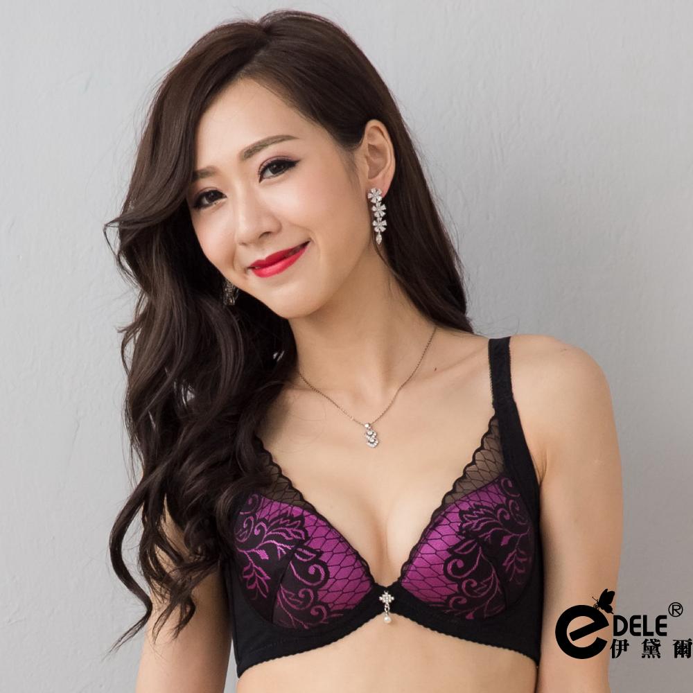 【伊黛爾】緹花薄紗蕾絲低脊心性感內衣褲套組 - 媚影紫 現貨
